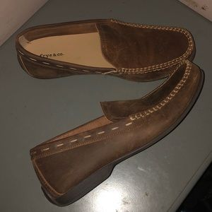 Frye & co brown leather loafers shoes sz 8